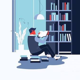 Человек читает книгу или книжный червь дома для концепции всемирного дня книги