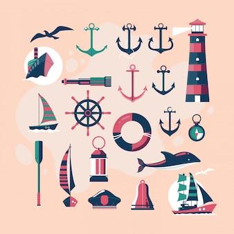 Симпатичные и старинные морские векторные элементы дизайна