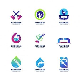 配管サービスと会社のモダンな配管のロゴのテンプレート