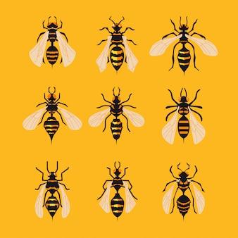 黄色の背景に大きなスズメバチのセット