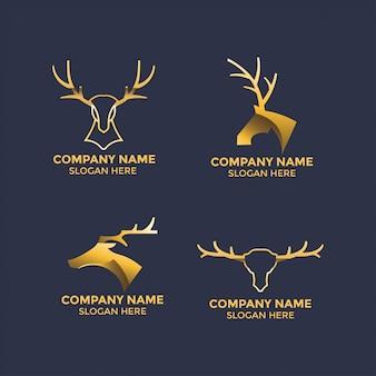 ロゴとマスコットテンプレートの鹿の角イラストデザイン