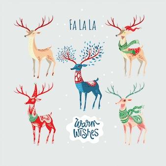 グリーティングカードの要素と装飾のためのクリスマスの魔法の鹿の角のセット