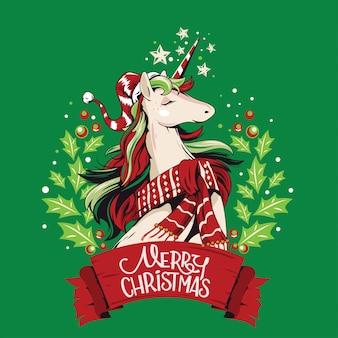 クリスマスリースのイラストかわいいユニコーンサンタ