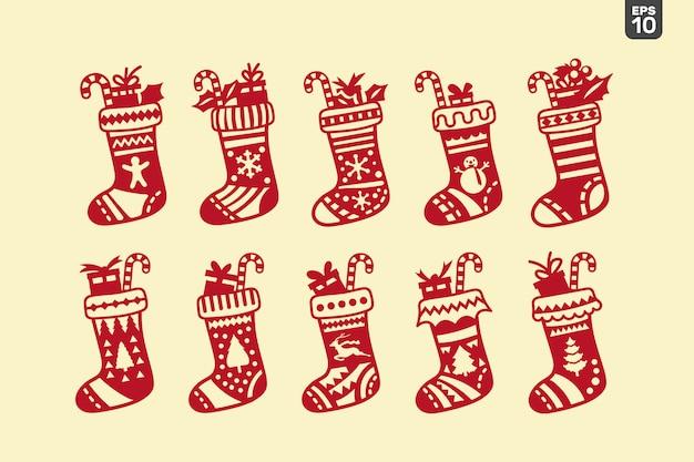 クリスマスソックスセット。ステッカーと装飾用のカッティングファイル
