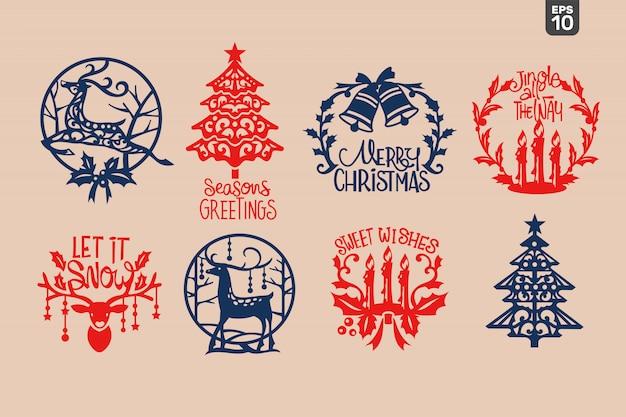 Симпатичные рождественские аксессуары. режущий файл для наклейки и украшения