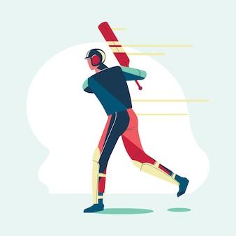 Иллюстрация игрок с битой играет в крикет чемпионат или игрок в крикет с качели летучей мыши