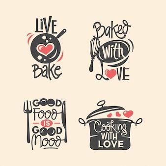 料理とキッチンの引用符ラベル、タイポグラフィ紙カットとレタリングのセット