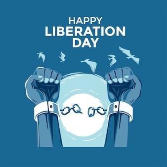 幸せな解放の日グリーティングカード