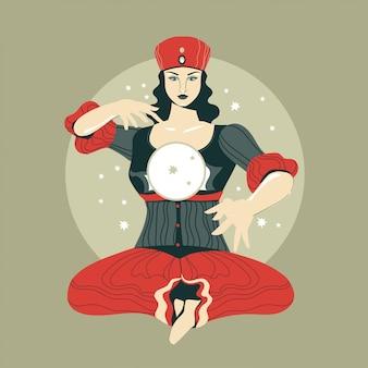 魔法の水晶玉に未来を読む占い師女性のベクトルイラスト