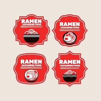 日本の麺またはラーメンバッジのセット