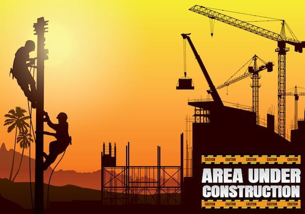 建設シルエット背景。