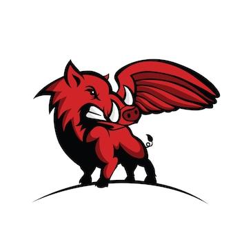 ワイルドホッグまたは猪と翼のロゴ