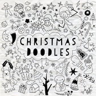 おしゃれスタイルのクリスマスデザイン要素の大きなセット