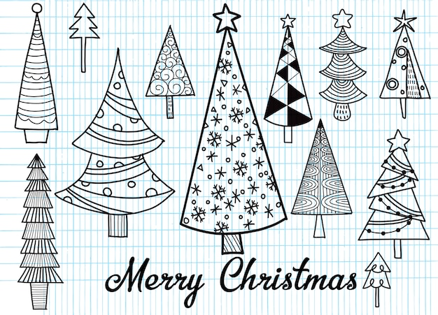 クリスマスツリーの手描きのセット。休日の背景。抽象的な落書きの森
