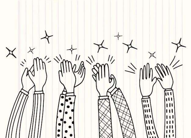 人間の手が拍手する