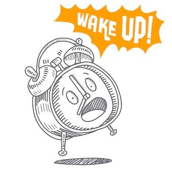 手を引く目覚まし時計は、白い背景に