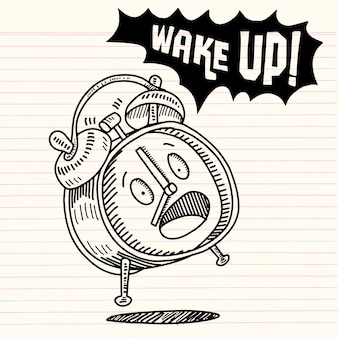 手を引く目覚まし時計、白い背景、目覚まし時計に