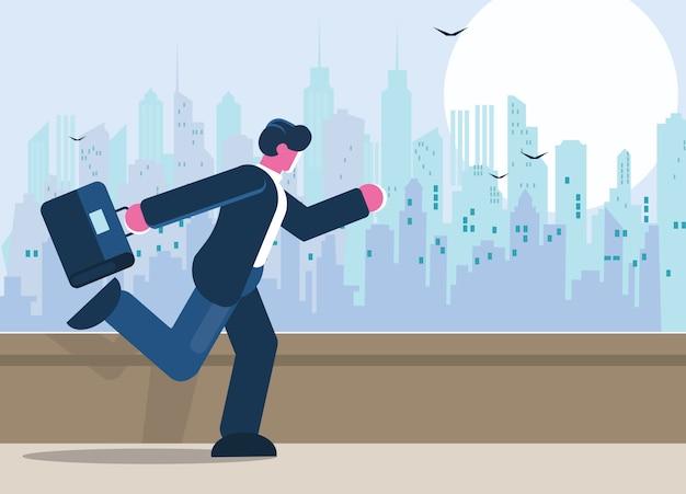 ブリーフケースで走っている若いビジネスマン