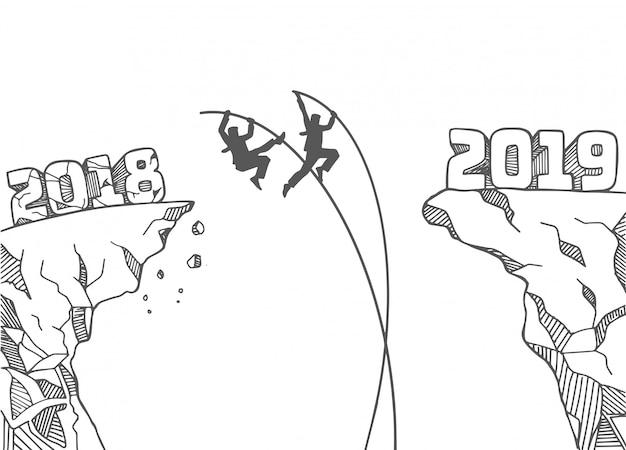 Два бизнесмена мчатся по новому году с шестом