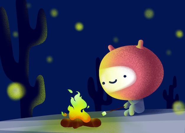 かわいいエイリアンは暗くて星明かりの中で座って発射します。