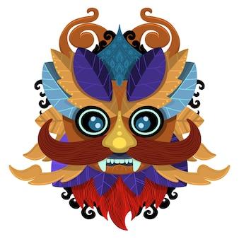 ズールーまたはアステカのマスクベクトルアイコン。メキシコのインディアインカの戦士マスク白背景