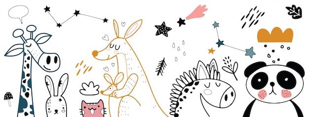 Животный мультфильм набор иллюстрации