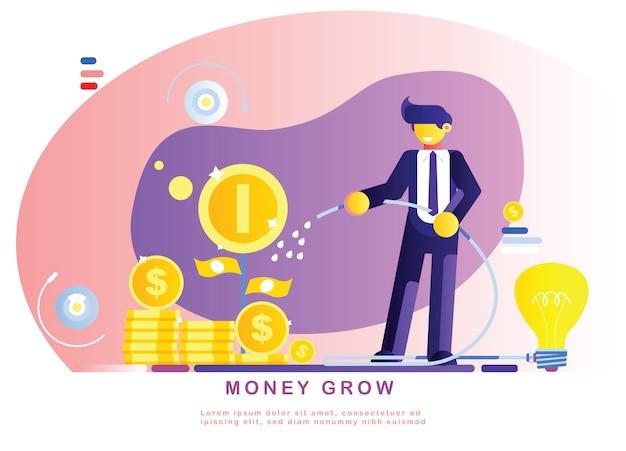 ビジネスマンはアイデアとお金の木に水をまくです。