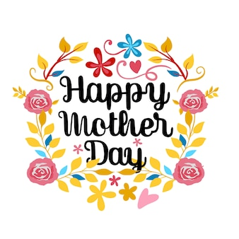 幸せな母の日、白のレタリング