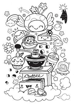 面白い朝食セット。漫画のキャラクターベクトルイラスト