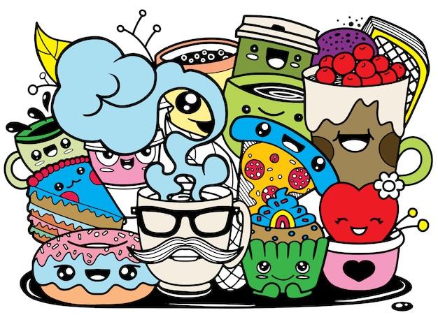 かわいいスタイルの面白い漫画の食べ物。