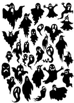Силуэт летающего злого духа в стиле коллекции