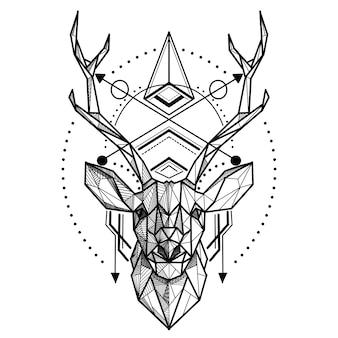 鹿の低ポリ。多角形の抽象的な鹿の頭。幾何学的な線形動物