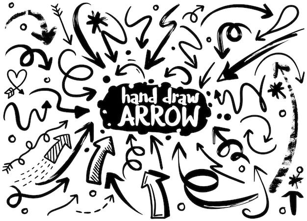 鉛筆画オブジェクトのセットを落書き。手描き抽象グランジ矢印。