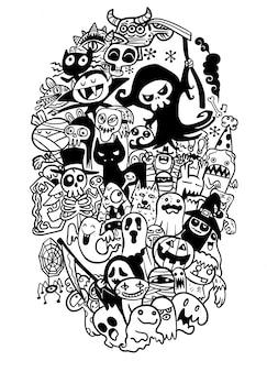 ハロウィーンのテーマのオブジェクトとシンボルの手描き落書き漫画セット