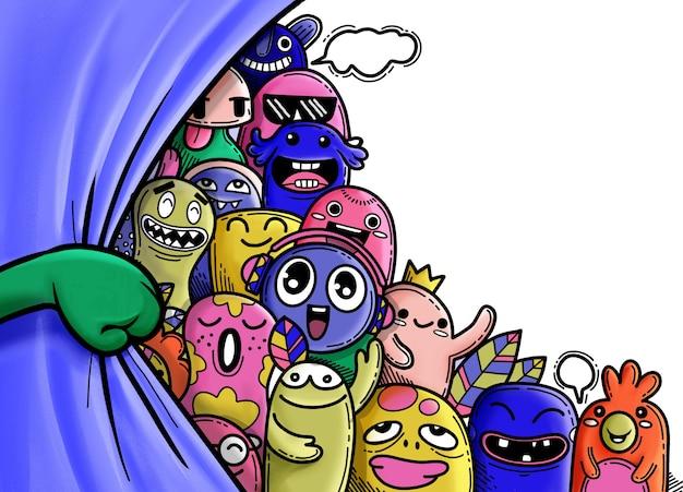 面白いモンスターグループとカーテンを開く手