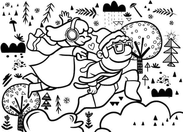 冬に楽しく実行する一緒に手を繋いでいる若いカップルのベクトル。