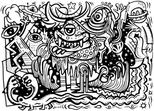 Сумасшедший абстрактный рисунок социальный, каракули стиль рисования. векторная иллюстрация