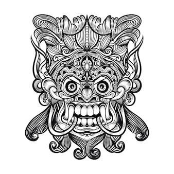 恐ろしい神話のディフェンダーの伝統的なバリのマスク