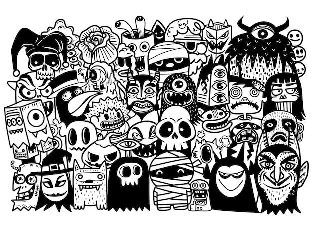 ハロウィーンのテーマのオブジェクトとシンボルのベクトル手描き落書き漫画セット