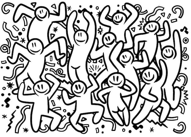 手描きの面白いパーティーの人々の落書きイラスト