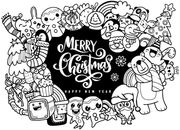 落書きスタイルのクリスマスデザイン要素