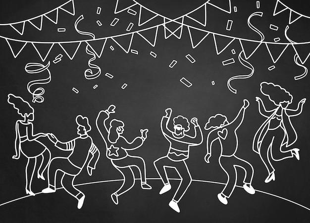 手描きの面白いパーティーの人々、フラットなデザインの落書きベクトルイラスト