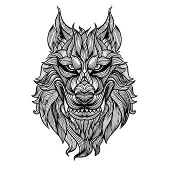 抽象的な頭キツネの手描き、ベクトル図頭凶暴なオオカミ、アウトラインシルエット