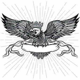 Ручной обращается орел логотип с лентой