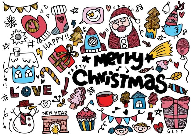 Рождественская коллекция каракули, красочные иллюстрации