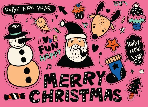 Набор наклеек с символами рождества и нового года: нашивки санта-клауса