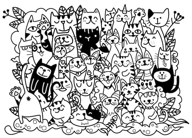 猫のキャラクターの手描きイラスト。スケッチスタイル。いたずら書き