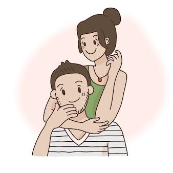 男と女のカップルの笑みを浮かべて、肩越しに抱擁の肖像画。フラットスタイルのストックイラスト。
