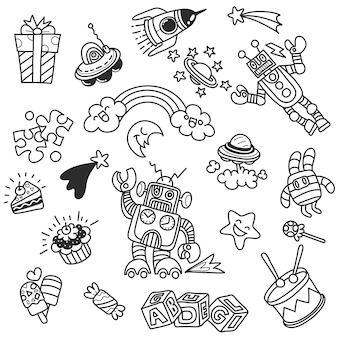 幼稚園保育園保育園子供と学校教育落書きのパターン子供たちが遊び、勉強しますアイコンを描く男の子の子供たちスペース、冒険、探検、想像力の概念