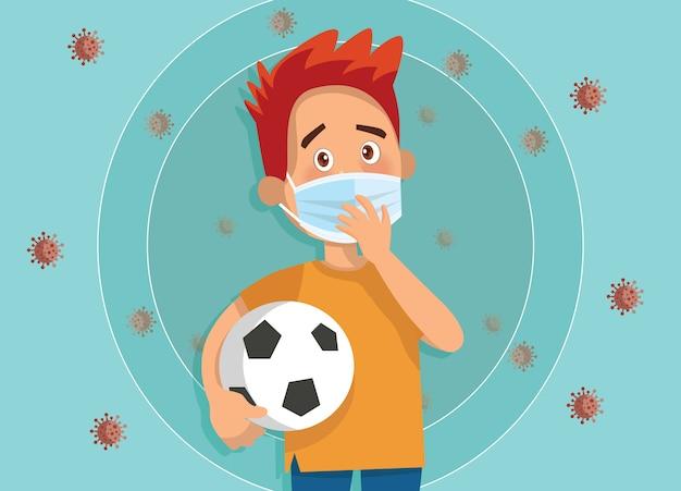 子供のイラストは医療用フェイスマスクを着用